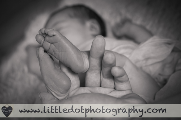 newborn feet black and white